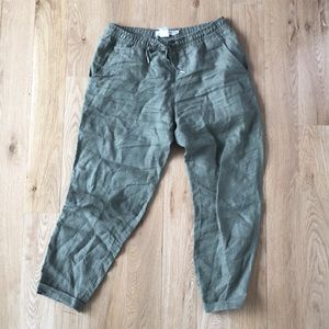 Army green linen pants